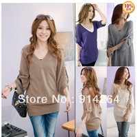 V-NECK TUNIC KNIT WEAR PULLOVER SWEATER DRESS S RY3114    /free shipping