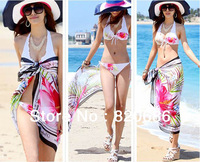 Wholesale 5pcs/lot Free Shipping 2013 New Sexy Bikini Cover up Fashion Women Beach Wraps Chiffon Scarf Sarong for Swimwear - A