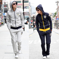 2013 spring sweatshirt with a thin hood  men tracksuit  activesuit   man sweatsuit embroidery sports set male running clothing
