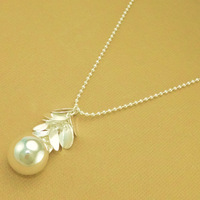 Bead chain necklace with flower pendant  Factory Price Free shipping silver necklace.fashion jewelry jewellry necklace FSN203