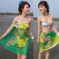 Wholesale 5pcs/lot Free Shipping 2013 Sexy Bikini Cover up Fashion Women Beach Wraps Chiffon Scarf Sarong for Swimwear Peacock