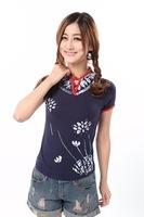 Chinese national style women's ladies t-shirt  mandarin collar cotton slim short sleeve t-shirt ,clearance items