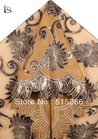 FREE SHIPPING by DHL!New Organza lace fabric with leather, tulle roll,African lace fabric,embroidery lace fabric,TKL3990 brown