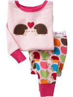HOT SELL  In stock 2013 new baby pajamas set 100% conton 6sizes:2-7T  kids pajamas  Hedgehog