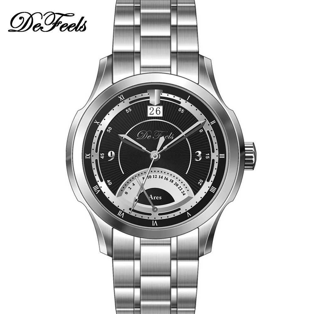 De feels ares series mens watch big calendar time male steel watch f8130(China (Mainland))