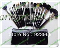 New 24 PCS Makeup Brush Set Leather pouch(1 pcs/lot)1pcs free shipping