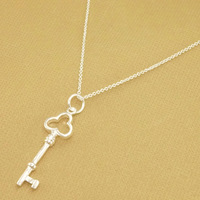 Christmas promotion,Korea Trendy Silver Key Fashion Jewelry high quality Necklaces Free shipping hot selling FSN202