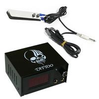 Black Skull Digital Display tattoo power supply + Foot Pedal + Clip Cord for machine gun P174