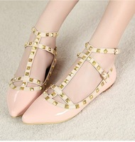 Ladies ballet flat shoes With rivets on straps FREE SHIPMENT