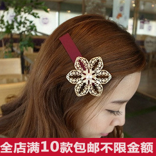 30pcs hair accessory gold flower side-knotted clip sweet hairpin cutout cloth hair pin accessories(China (Mainland))