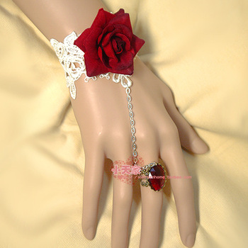 Red rose flower White Lace Princess Bracelet Band Ring