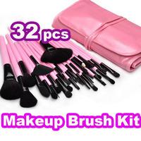Free DHL +50sets 32pcs Pink Makeup Brushes + Leather Case 32 Pcs Professional Cosmetic Facial makeup Brush Kit Tools Set make up