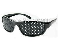 Cheap Black Unisex Vision Care Pinhole Eyeglasses pinhole Glasses Eye Exercise Eyesight Improve plastic Retail Wholesale