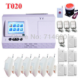 color LCD Wireless Home Security Alarm System w/ Auto Dialer 6 motion sensor 5 door contact 1 siren 4 keychain 1 panic button(China (Mainland))