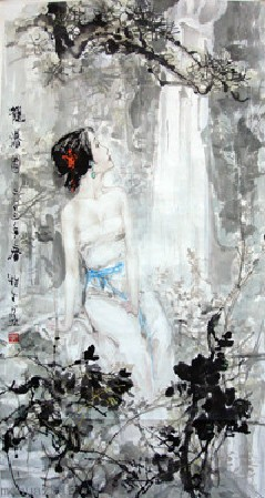 Original Chinese painting hand painted figure painting Oriental Asian women Chinese Painting Ink Brush Art From Famous artist E(China (Mainland))