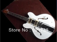 Hollow Tom Delonge ES-333 White Electric Guitar black stripes white ES 333 jazz electric guitar