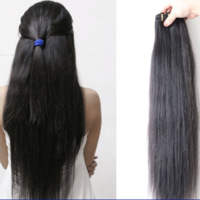 Free shipping Real hair piece hair extension piece long straight hair straight hair lengthen 60cm
