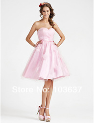 2013 Hot Sale Free Shipping A-line Tulle&amp;Satin Flowers Ribbon Homecoming/Party/Cocktail dress Custom Made All Size(vFjmh3Mh)(China (Mainland))