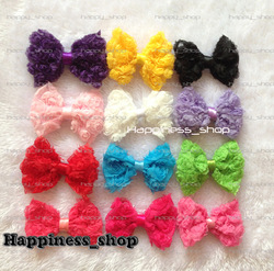 Free Shipping 60pcs/lot Baby Girl Kids 3inch IDY Lace 3D Rose Bowknot Chiffon Hair Bow Flowers Hair Accessories 12colors(China (Mainland))