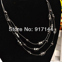 2013 Fashion Silver 3 Double Chains Oval Beads Lady Jewelry Long Necklace HJ041 Free Shipping