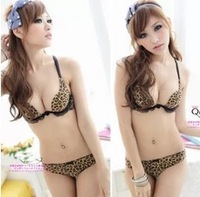 2013 new arrival,free shipping,sexy bra set, big size lady bra sets,push up underwears,leopard women  underwear set,V-style bras