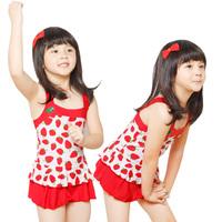 2013 child swimwear small strawberry one-piece swimsuit children skirt style swimwear
