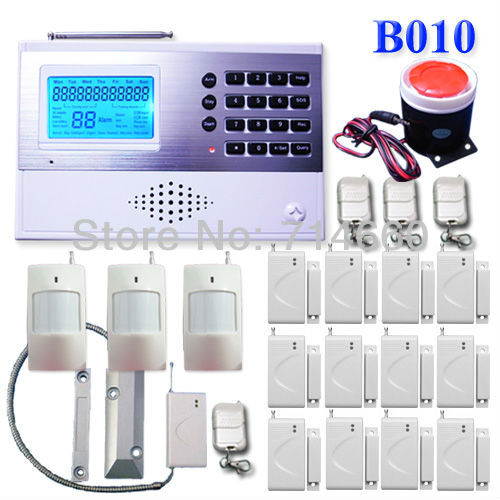 Wireless Home Alarm System w/ Auto Dialer 3 motion sensor 12 door alarms 1 siren 4 keychains 1 roller shutter sensorsurveillance(China (Mainland))