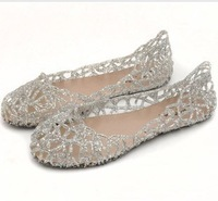 Summer breathable hole plastic jelly shoes flower flat heel bird nest flat female sandals