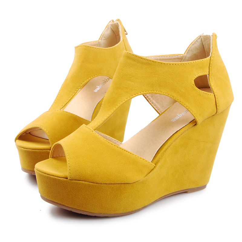 2013 all-match women's wedges shoes open toe shoe platform high-heeled shoes cutout platform shoes female sandals(China (Mainland))