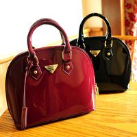 3 Colors Free Shipping 2014 Women's Fashion Handbag Japanned Leather Shell Bag Vintage Messenger Bag