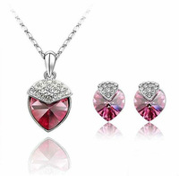 Lovely Strawberry  Austrian Crystal Jewelry Set Heart Charms Valentine Jewelry Free Shipping +Drop Shipping JS026