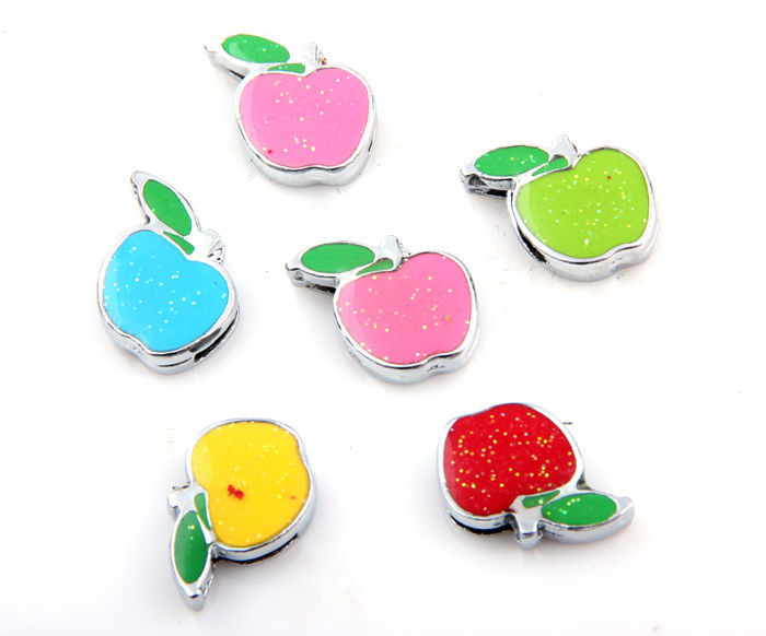 50pcs/lot Wholesale Colors Mixed 8mm Slide Alloy Apple Fruit DIY Pendants Charms Accessories(China (Mainland))