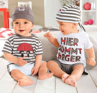 2013 New summer cute toddler boy suit pirate letter word t-shirt + pants + hat 3-pcs clothes set 5sets/lot free shipping