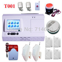 color LCD Wireless Home Security Alarm System w/ Auto Dialer 2 motion sensor 4 door contact 2 siren 2 keychain 1 fire alarm