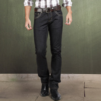 Sportica 2013 spring and autumn classic hem-stitch 100% cotton straight denim trousers male