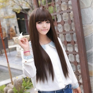 Free shipping Wig long straight hair qi bangs korean soaps girls wig star wig female wig(China (Mainland))
