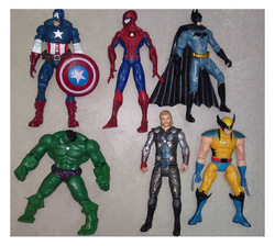 "The Avengers 5"" Captain America Wolverine Thor Spiderman Batman 14cm Action Figures Toy 6 pcs/lot free shipping(China (Mainland))"