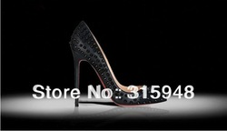 2013 New arrival sexy women red bottom pumps stiletto high heels rivets shoes free shipping hot sale size 35-40(China (Mainland))