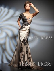Single oblique beading long design train slim formal dress for women 2013(China (Mainland))