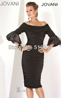 Half sleeves off the shoulder ruffles black lace white cocktail dress with sleeves 2014 new collection satin short free shipping