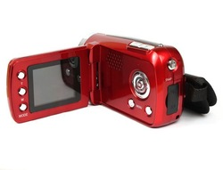 "New 1.8"" LCD Red Cyber-Cam Mini DV Camcorder Digital Video Camera 12MP 4xZoom Free Shipping & Wholesale(China (Mainland))"