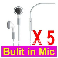 100% Brand New Hight Quality+LOT 5 5PCS Earphones Headphone Headset With Mic For Apple iPhone 4 4G 3GS 3G + Free Shipping