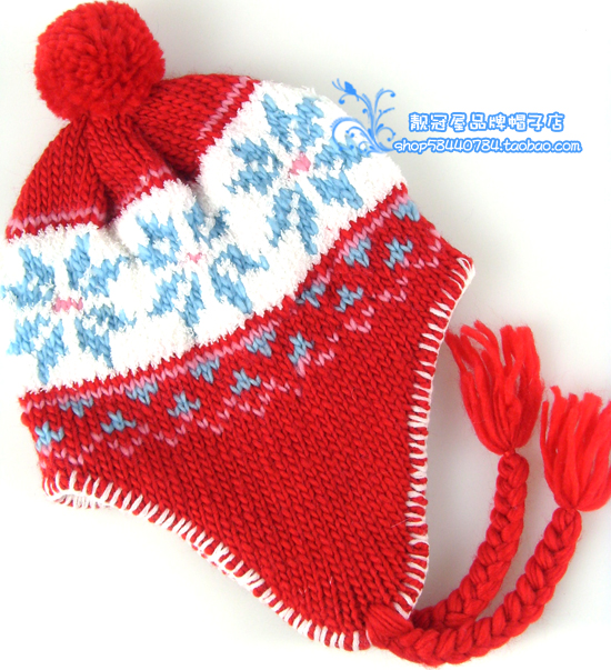 Children winter knitting wool hat vintage embroidered towel ear casual male girl knitted hat(China (Mainland))
