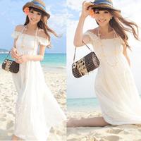 Slim full summer dress bohemia fashion casual white chiffon one-piece dress