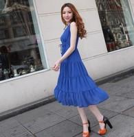 2013 spring and summer silk chiffon one-piece dress bohemia dress full women's plus size