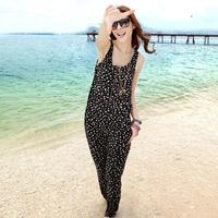 Jumpsuit fashion vest jumpsuit bib pants polka dot plus size clothing beach pants