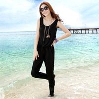 Jumpsuit fashion jumpsuit pants vest one piece trousers female black beach pants