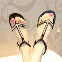 Fashion van t type t metal hasp flat heel flat flip-flop sandals women's shoes