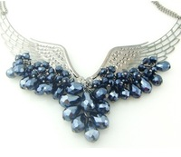 Fashion cutout angels tears crystal wings drop necklace