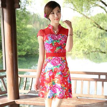 Flower skirt fashion improved cheongsam summer lace patchwork women's cheongsam one-piece dress g13355